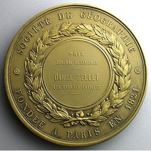 Numismatic foto  Coins Tokens and Medals Numismatique des Académies et Sociétés Savantes Société de Géographie Médaille en argent  68mm   Prix Juvenal Dessaigne   Daniel Bellet, Les Grandes Antilles    SUP/FDC