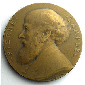 Numismatic foto  Coins Tokens and Medals Numismatique de la Ville de Paris Pierre Lampué Médaille en bronze  55mm   Conseiller municipal 1890-1915    SUP/FDC