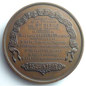 Numismatic foto  Coins Tokens and Medals Medals of Napoleon III Quartier Neuf du Luxembourg Médaille en bronze  68mm   Société immobilière du Quartier Neuf du Luxembourg   15 juin 1861    SUP