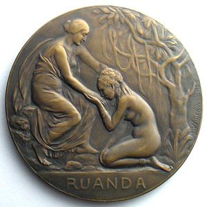 Numismatic foto  Coins Tokens and Medals Numismatics of WW1 Médailles du Congo belge Médaille en bronze  70mm   Campagnes de la Force Publique en 1914-1918    SUP/FDC