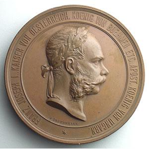 Numismatic foto  Coins Tokens and Medals Numismatics of the World Fairs Vienne 1873 Médaille en bronze  70mm   François-Joseph    SUP/FDC