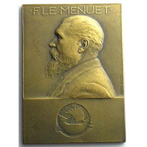 Numismatic foto  Coins Tokens and Medals Numismatique de la Ville de Paris Ferdinand le Menuet Plaque en bronze  50x70mm   Conseiller municipal 1900-1925    SUP/FDC