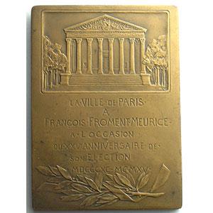 Numismatic foto  Coins Tokens and Medals Numismatique de la Ville de Paris François Froment-Meurice Plaque en bronze  51x70mm   Conseiller municipal 1890-1915    SUP/FDC
