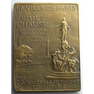 Numismatic foto  Coins Tokens and Medals Numismatique de la Ville de Paris Emile Chausse Plaque en bronze  53x71mm   Conseiller municipal 1893-1918    SUP/FDC