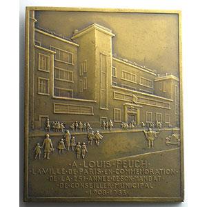 Numismatic foto  Coins Tokens and Medals Numismatique de la Ville de Paris Louis Peuch Plaque en bronze  55x67mm   Conseiller municipal 1908-1933    SUP/FDC