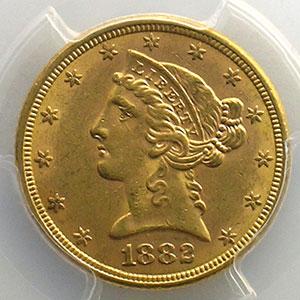 Numismatic foto  Coins World coins United States 5 Dollars tête de Liberté 1882    PCGS-MS61    SUP/FDC