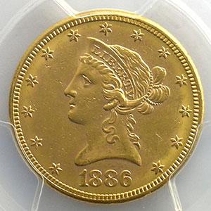Numismatic foto  Coins World coins United States 10 Dollars tête de Liberté 1886 S   (San Francisco)    PCGS-MS61    SUP/FDC