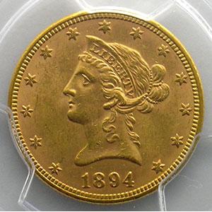 Numismatic foto  Coins World coins United States 10 Dollars tête de Liberté 1894    PCGS-MS62    SUP/FDC