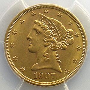 Numismatic foto  Coins World coins United States 5 Dollars tête de Liberté 1907    PCGS-MS62    SUP/FDC