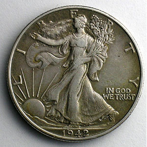 Numismatic foto  Coins World coins United States 1/2 Dollar Liberty walking 1942    TTB+