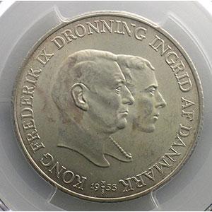 Numismatic foto  Coins World coins Denmark Frédéric IX   (1947-1972) 2 Kroner   1953  NS    PCGS-MS63    SUP/FDC