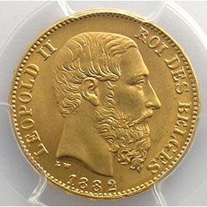 Numismatic foto  Coins World coins Belgium Léopold II  (1865-1909) 20 Francs   1882    PCGS-MS65    FDC