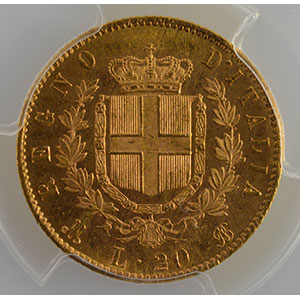 Numismatic foto  Coins World coins Italy Vittorio Emanuele II   (1861-1878) 20 Lire   1873 M  (Milan)    PCGS-MS63+    SUP/FDC