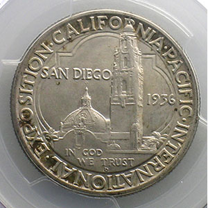 Numismatic foto  Coins World coins United States Commemorative coinage Half Dollar   1936 D   California Pacific International Exposition    PCGS-MS65    FDC