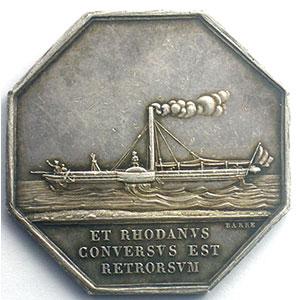 Compagnie des Bateaux à Vapeur du Rhône   1830   jeton octogonal en argent    TTB+/SUP