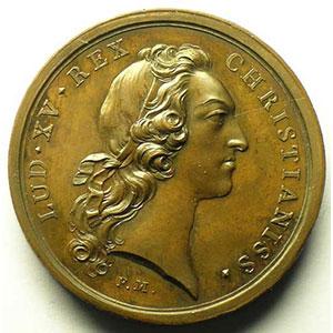 Convalescence du Roi Louis XV à Metz   bronze   41mm   août 1744    SUP