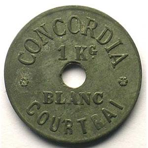 Courtrai / Kortrijk   Concordia   1Kg Blanc   Zn, R tr.   23mm    TTB
