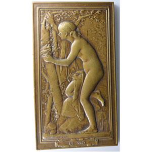 Daniel-Dupuis J.B.   Grande Plaque en bronze uniface  75x132mm   Le Nid (1890)    SUP