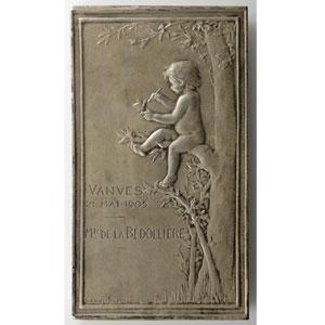 Daniel-Dupuis J.B.   Plaque en argent  36x65,5mm   Le Nid (1898)    SUP