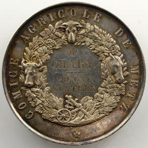 De Longueil   Médaille en argent  51mm   Comice Agricole de Metz   Napoléon III    TTB+/SUP