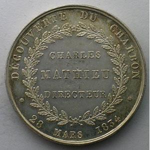 Découverte du Charbon   jeton rond en argent   31mm   28 mars 1834    SUP