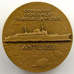 Delamarre   Compagnie générale transatlantique   Paquebot Antilles   bronze   55mm    SUP/FDC