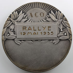Demey H.   Médaille en bronze argenté  50mm   A.C.O.  Rallye 19 mai 1935    SUP