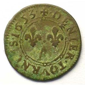 Denier tournois   (Charles II de Gonzague 1637-1659)   1653    TB