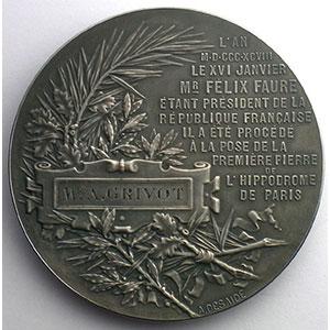 DESAIDE   Paris-Hippodrome   16 janvier 1898   argent poinçon corne   50 mm    SUP/FDC
