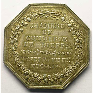 Dieppe   Jeton octogonal en argent   Louis XVIII    TTB