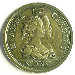 Donner   Médaille de Mariage avec l'archiduchesse Marie-Anne   argent   28mm   1744    SUP