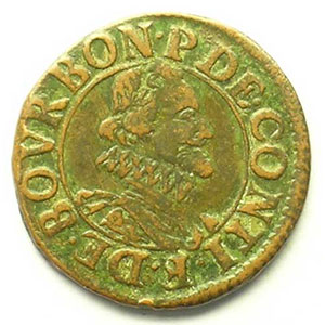 Double Tournois au col avec collerette en dents de scie   (François de Bourbon-Conti 1605-1614)   nd    TB+/TTB