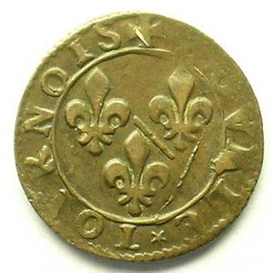 Double Tournois au col avec collerette en dents de scie   (François de Bourbon-Conti 1605-1614)   nd    TTB