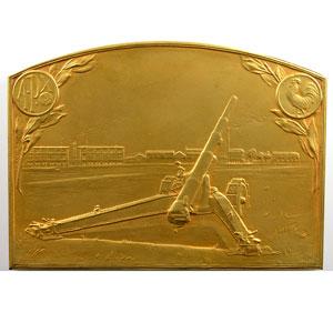 Dropsy Henry   Ateliers de constructions militaires de Puteaux   plaque en bronze doré  72x99mm   1914-1918    SUP/FDC