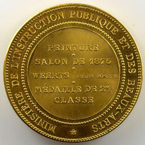DUBOIS Alphée d'après Nicolas Poussin   Médaille en cuivre doré  50mm   Salon de Peinture  1875    FDC