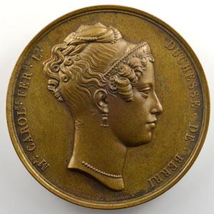 Dubois    Médaille en bronze  50mm   Duchesse de Berry - Henri Duc de Bordeaux   1827    SUP/FDC