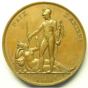 DUMAREST   Paix d'Amiens   bronze   49 mm    TTB+/SUP