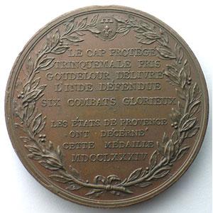 DUPRE   Les Etats de Provence aux Victoires du Bailly de Suffren dans l'Océan Indien   Bronze  49,5mm   1784    SUP