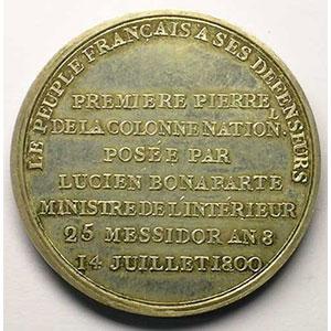 DUVIVIER   Colonne Nationale sur la place Vendôme   argent   42mm    SUP