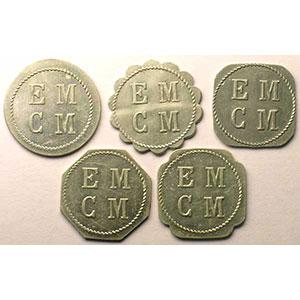 Elie 15.1 à 15.5   E.M.C.M. (Ecole Militaire Coop. Militaire)   Série de 5 jetons    TTB/SUP