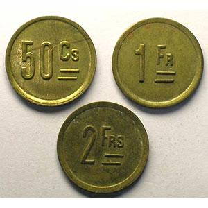 Elie 15.4, 15.5, 15.6   50 c, 1F, 2F   Lt, R  20mm   Avignon, 1928    TTB+/SUP