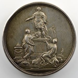 F. Marteau   Pose de la première pierre de la statue de Louis XV à Rennes   argent   41mm    TTB+
