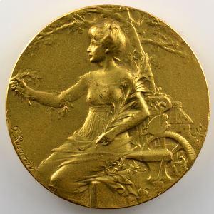 F. Rasumny   Médaille en bronze doré  45mm   Exposition Nationale Metz 1920    SUP