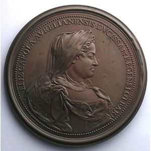 Ferdinand de SAINT-URBAIN   Hommage de la Lorraine 1729   bronze  58 mm    TTB+/SUP