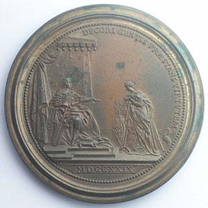 Ferdinand de SAINT-URBAIN   Hommage de la Lorraine 1729   bronze  60 mm    TTB+