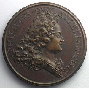 Ferdinand de SAINT-URBAIN    La protection accordée aux arts par le Régent   bronze   1716   43mm    SUP/FDC