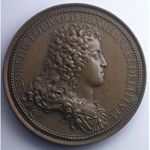 Ferdinand de SAINT-URBAIN   Le comblement d'une vallée profonde et la sécurité rendue aux voyageurs de Nancy à Toul   bronze   56mm   1705    TTB+/SUP