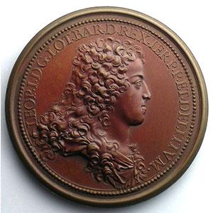Ferdinand de SAINT-URBAIN   Le comblement d'une vallée profonde et la sécurité rendue aux voyageurs de Nancy à Toul   bronze   58mm   1705    SUP