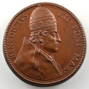 Ferdinand de Saint-Urbain   Médaille en bronze  40mm   Benoît XII (Pape de 1334 à 1342)    SUP/FDC