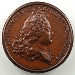 Ferdinand de Saint-Urbain   Médaille en bronze  44.5mm   Philippe d'Orléans - Chambre de Justice  1717 - seconde légende    SUP/FDC